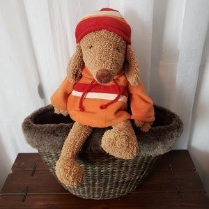 "Bath & Body Wicker Bag & Stuffed 10"" Puppy Hoodie"